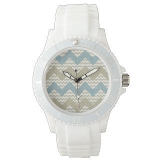 Chevron pattern on linen texture watch