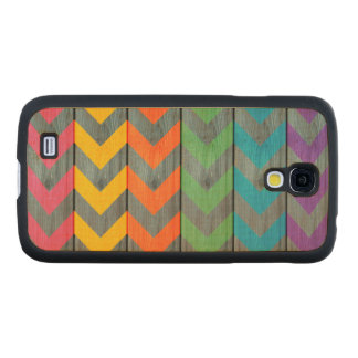 Chevron Pattern On Wood Texture Carved® Maple Galaxy S4 Slim Case