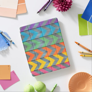 Chevron Pattern On Wood Texture iPad Cover