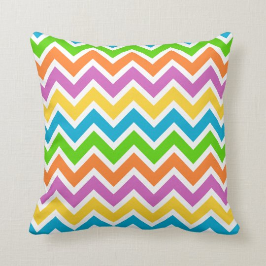 CHEVRON PATTERN PILLOW, Bright Rainbow Colours Cushion