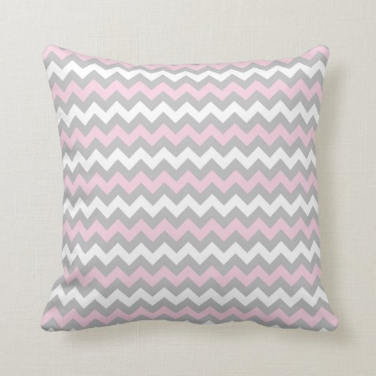 CHEVRON PATTERN PILLOW, Pink Grey & White Cushion