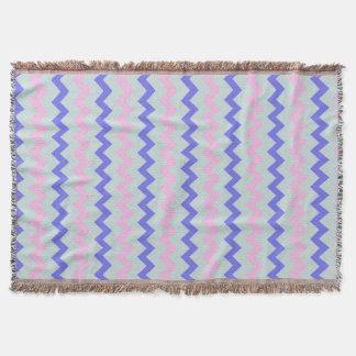 Chevron pattern pink blue throw blanket