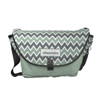 Chevron Pattern Rickshaw Messenger Bag (mint)