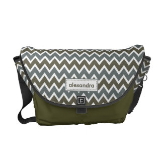 Chevron Pattern Rickshaw Messenger Bag (olive)