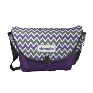 Chevron Pattern Rickshaw Messenger Bag (purple)