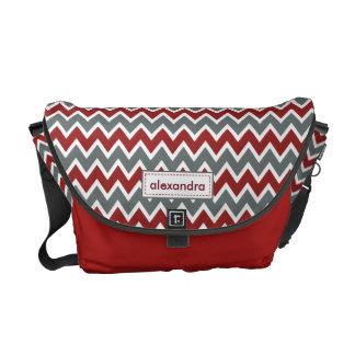 Chevron Pattern Rickshaw Messenger Bag (red)