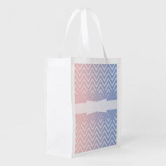 Chevron pattern rose quartz serenity ombre design reusable grocery bag