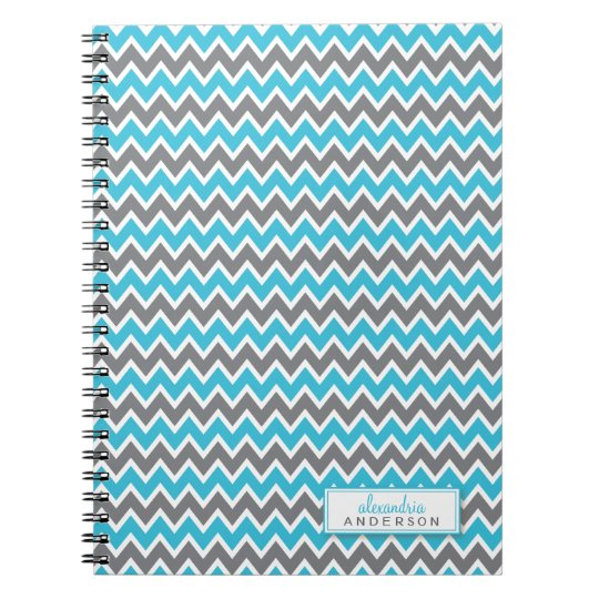 Chevron Pattern Trendy Notebook (aqua)