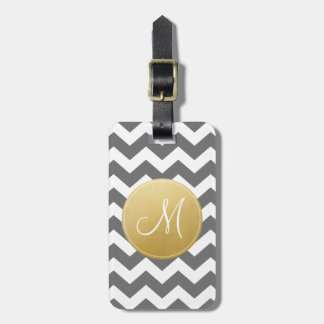 Chevron Pattern with Monogram - Gold and Grey Luggage Tag