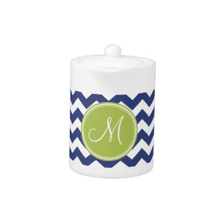 Chevron Pattern with Monogram - Navy Lime