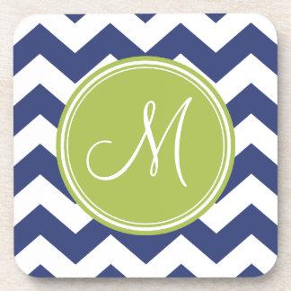 Chevron Pattern with Monogram - Navy Lime Coaster