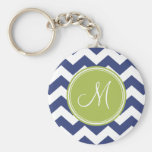 Chevron Pattern with Monogram - Navy Lime Key Chain