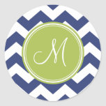 Chevron Pattern with Monogram - Navy Lime Round Stickers