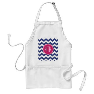 Chevron Pattern with Monogram - Navy Magenta Adult Apron