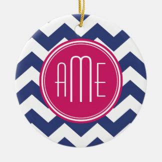 Chevron Pattern with Monogram - Navy Magenta Christmas Ornament