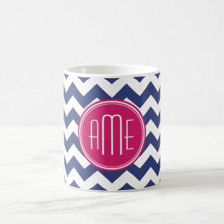 Chevron Pattern with Monogram - Navy Magenta Coffee Mug