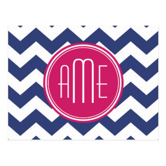 Chevron Pattern with Monogram - Navy Magenta Postcard