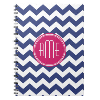 Chevron Pattern with Monogram - Navy Magenta Spiral Notebook