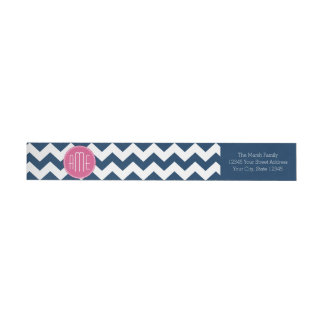 Chevron Pattern with Monogram - Navy Magenta Wrap Around Label