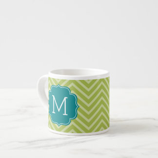 Chevron Pattern with Monogram - Teal Blue and Lime