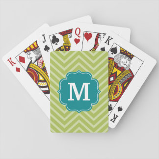 Chevron Pattern with Monogram - Teal Blue and Lime Playing Cards