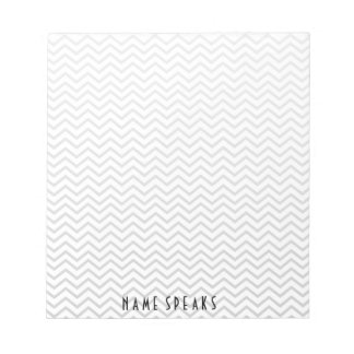 Chevron Pattern Zigzag Personalized Grey Notepad