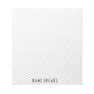Chevron Pattern Zigzag Personalized Grey Notepads