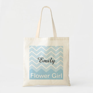 Chevron Personalised Wedding Party Tote (blue)