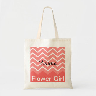 Chevron Personalised Wedding Party Tote (peach)