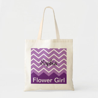 Chevron Personalised Wedding Party Tote (purple)