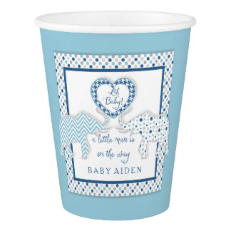 Chevron Personalized Elephants w Heart Oh Baby Boy Paper Cup