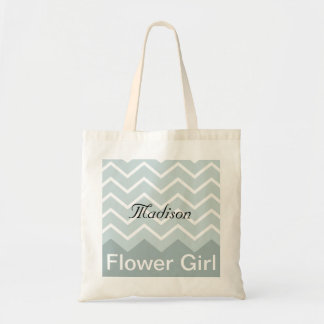 Chevron Personalized Wedding Party Tote (blue) Budget Tote Bag