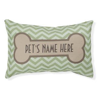 Chevron Pet Bone Personalized Green Dog Pillow Bed