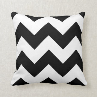 Chevron Pillow with Black and White Zigzag