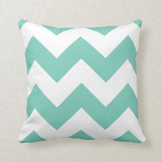 Chevron Pillow with Turquoise Zigzag