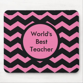Chevron Pink and Black Mouse Pad