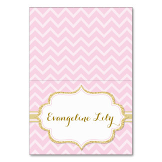 Chevron Pink and Gold Tent Table Card