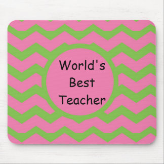 Chevron Pink and Lime Mouse Pad
