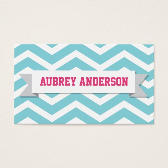 Chevron Pink Blue Custom Flag Business Card