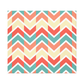 Chevron Pink Blue Geometric Designs Color Gallery Wrapped Canvas