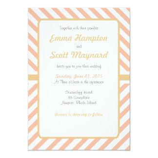 Chevron pink gold stripes fancy classic wedding 13 cm x 18 cm invitation card