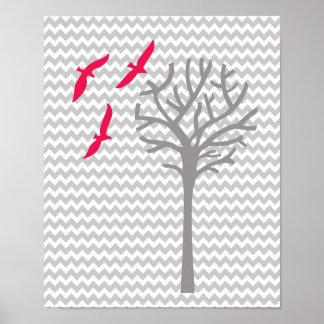 Chevron pink gray baby girl nursery art Print