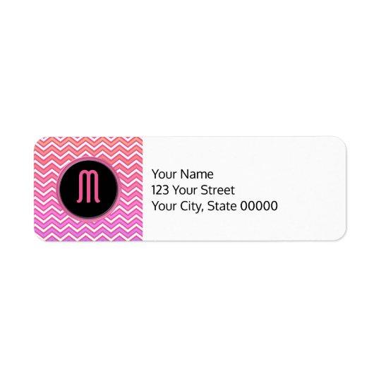 Chevron Pink Purple Monogram Return Address Label