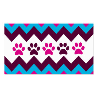 Chevron Pink Teal Puppy Paw Prints Dog Lover Gifts Business Card Templates