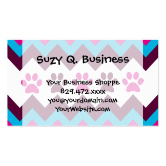 Chevron Pink Teal Puppy Paw Prints Dog Lover Gifts Business Card Template
