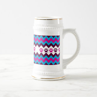 Chevron Pink Teal Puppy Paw Prints Dog Lover Gifts Coffee Mugs