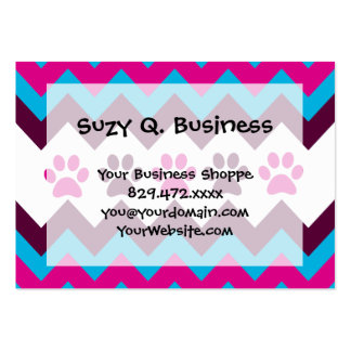 Chevron Pink Teal Puppy Paw Prints Dog Lover Gifts Pack Of Chubby Business Cards