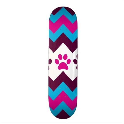 Chevron Pink Teal Puppy Paw Prints Dog Lover Gifts Skate Decks