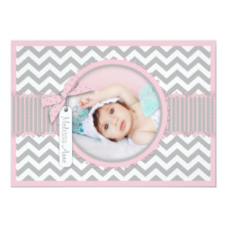 Chevron Print Birth Announcement Photo Card A7-PK
