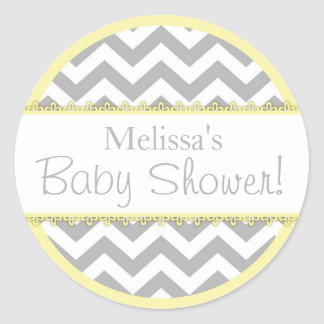 Chevron Print & Yellow Contrast Baby Shower Round Sticker